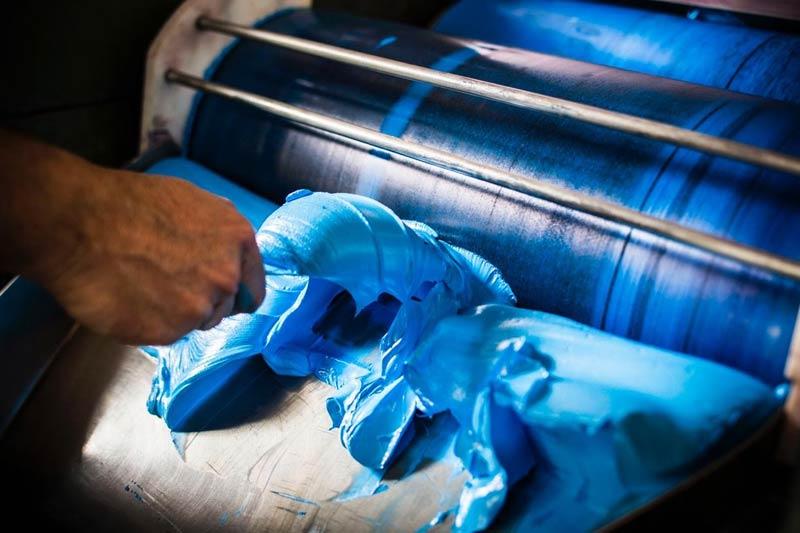 Langridge, Homemade Oil Colour, photo of blue paint.