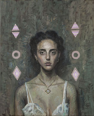 Coppersmith_Yvette_Portrait-of-a-woman-with-pink-diamonds_oil-on-linen_81.5cmx66cm_2013
