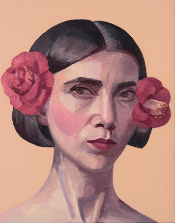 Coppersmith_Yvette_Self Portrait with Camellias_Oil on linen_35.8 x 28.2cm_2016