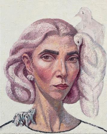 Coppersmith_Yvette_Self-portrait with Dove_oil on linen_50.5cm x 40.5cm_2017ce